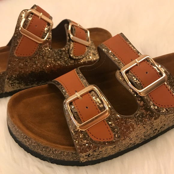 34553ad63052 Rose Gold Glitter Double Buckle Footbed Sandal